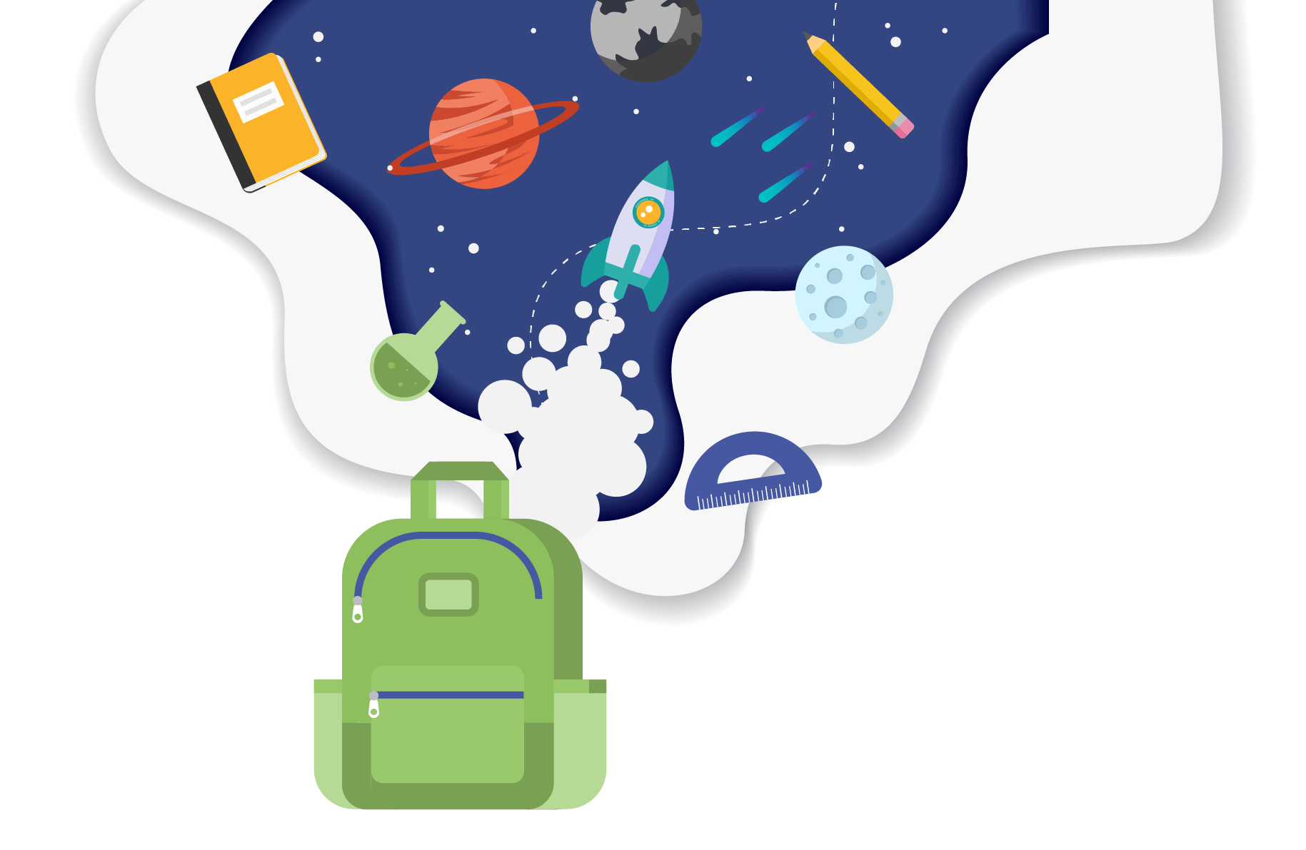 A magical backpack of learning with school supplies, planets, and a spaceship flying out of it