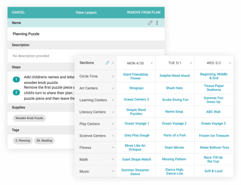 The lesson planner dashboard